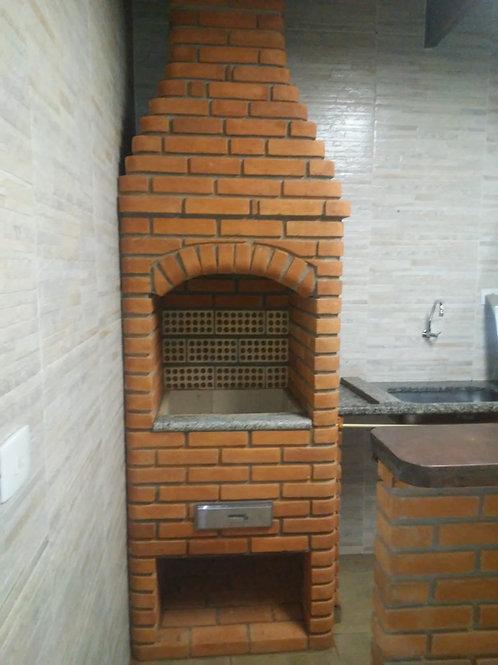 Churrasqueira alvenaria de tijolos a vista