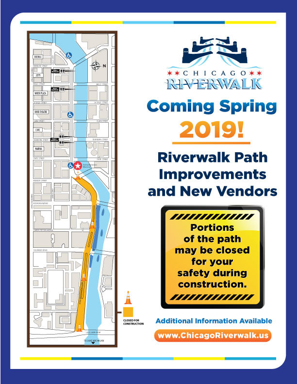 Riverwalk Chicago Map.Chicago Riverwalk Construction Ramp Closures Map