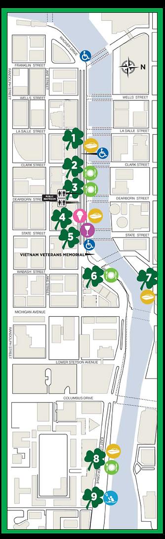 Chicago Riverwalk March 11 Map 2017