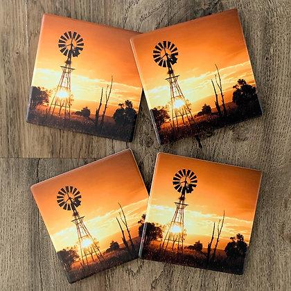 Ceramic Coasters - Sunset Windmill