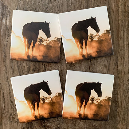 Ceramic Coasters - Dusted in Gold