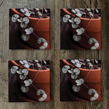 Ceramic Coasters - Chain of Hearts