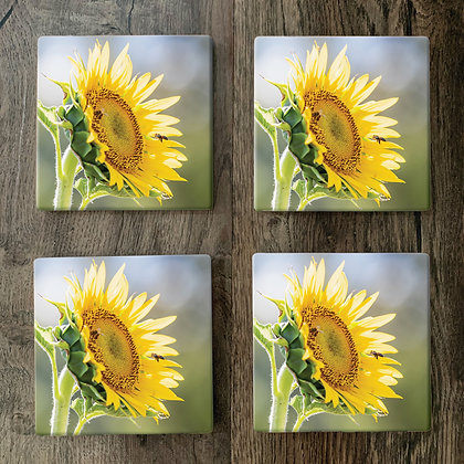 Ceramic Coasters - Sunflower with Bee