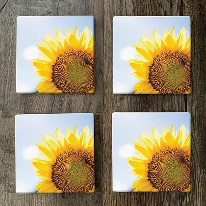 Ceramic Coasters - Bright Sunflower