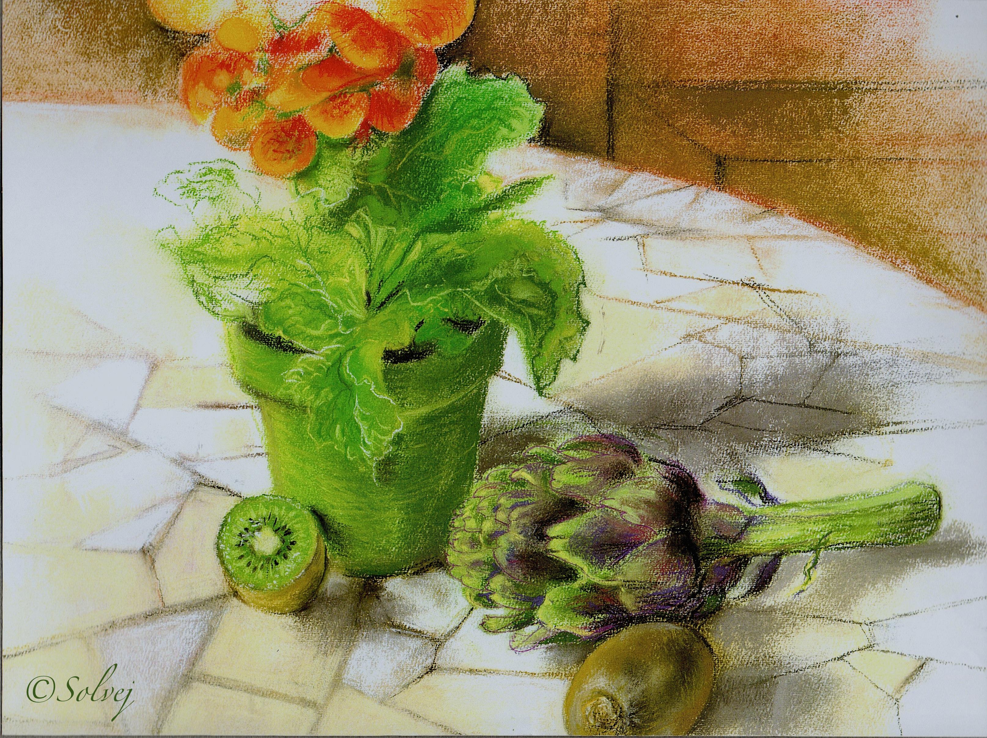 """Pot vert et violet 253 """"à F.E."""""""