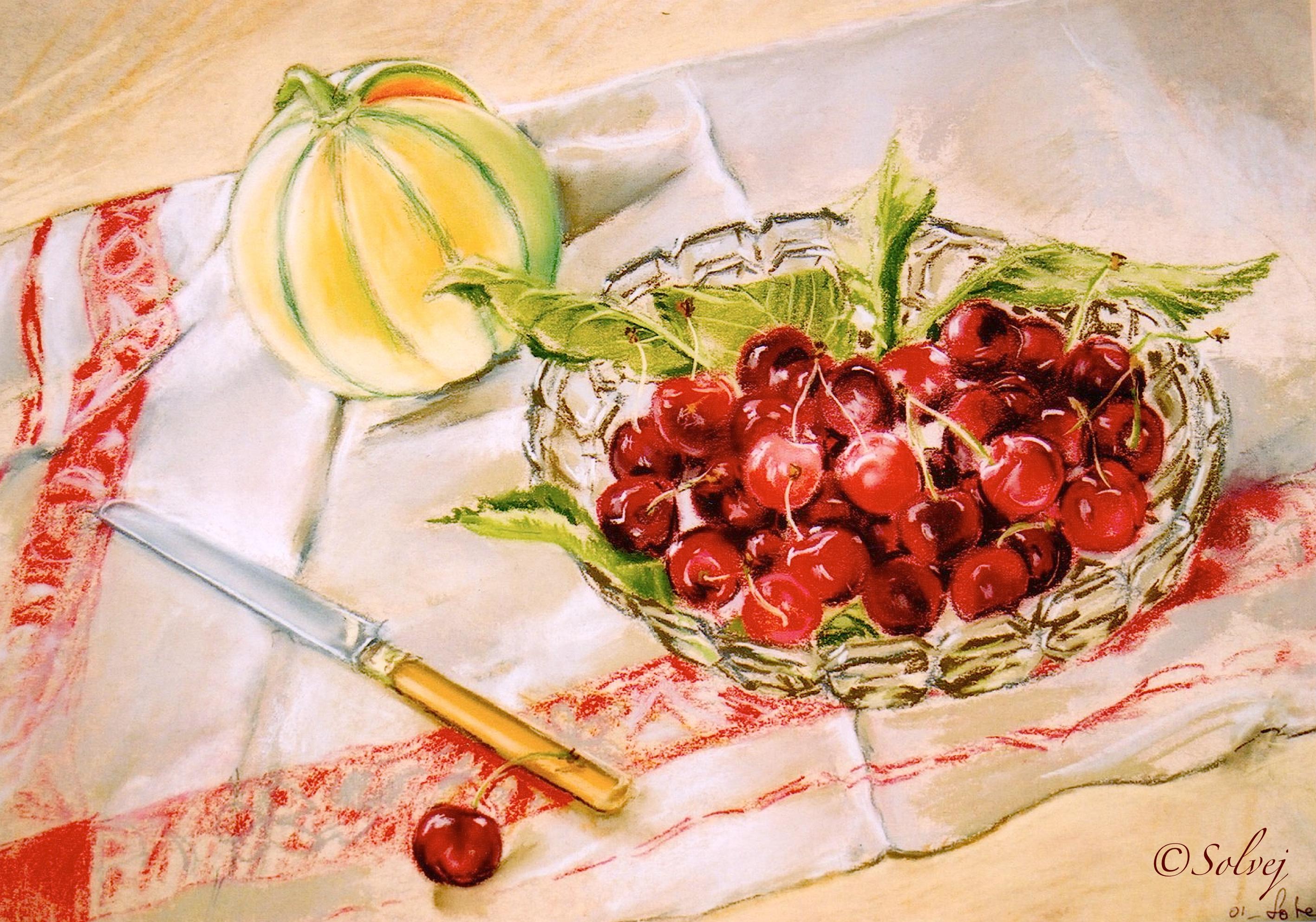 Melon et un compotier de cerises 374