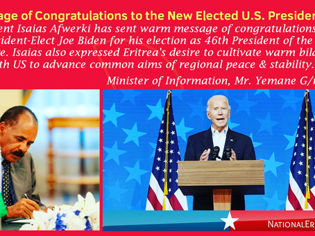 Eritrea፡ President Isaias Afwerki has Sent a Message of Congratulations to President-Elect Joe Biden