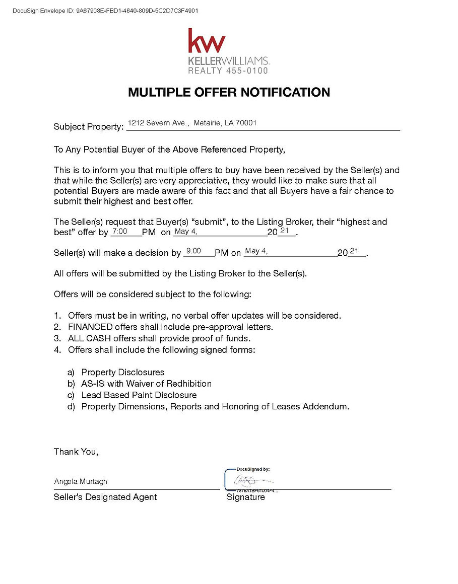 Multiple Offer Notification 1212 SEVERN