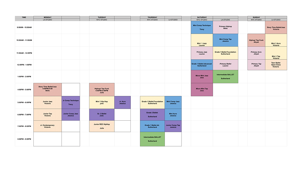 Master Schedule 2020-2021 - Revised D'Ai