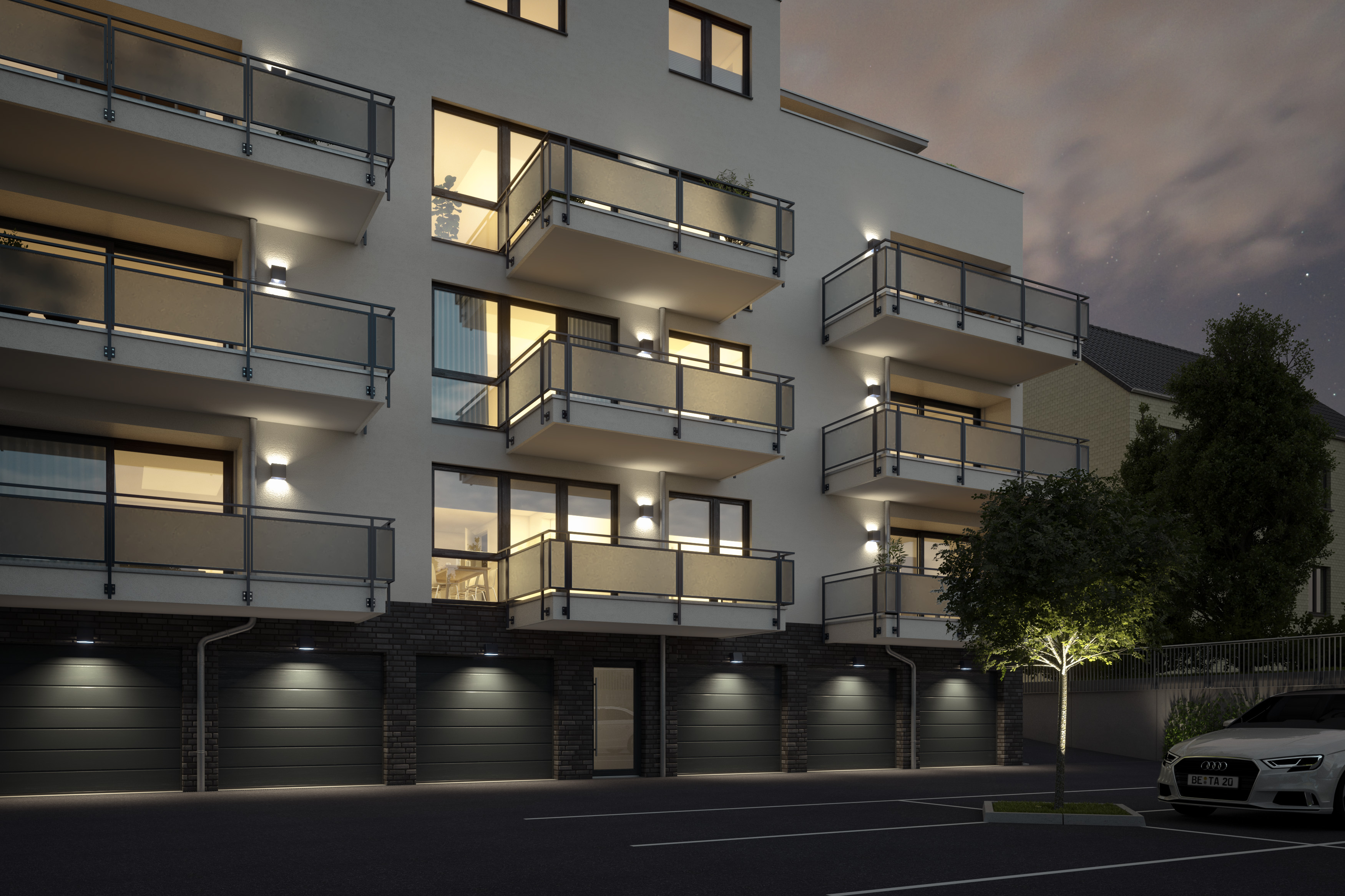 Architekturvisualisierung-ETW-Anlage-Garagenhof-Nacht