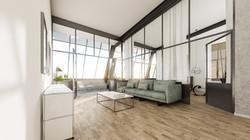 Architekturvisualisierung-Industrieloft-Wohnraum