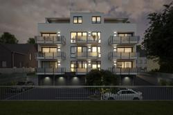 Architekturvisualisierung-ETW-Anlage-hinten-Nacht