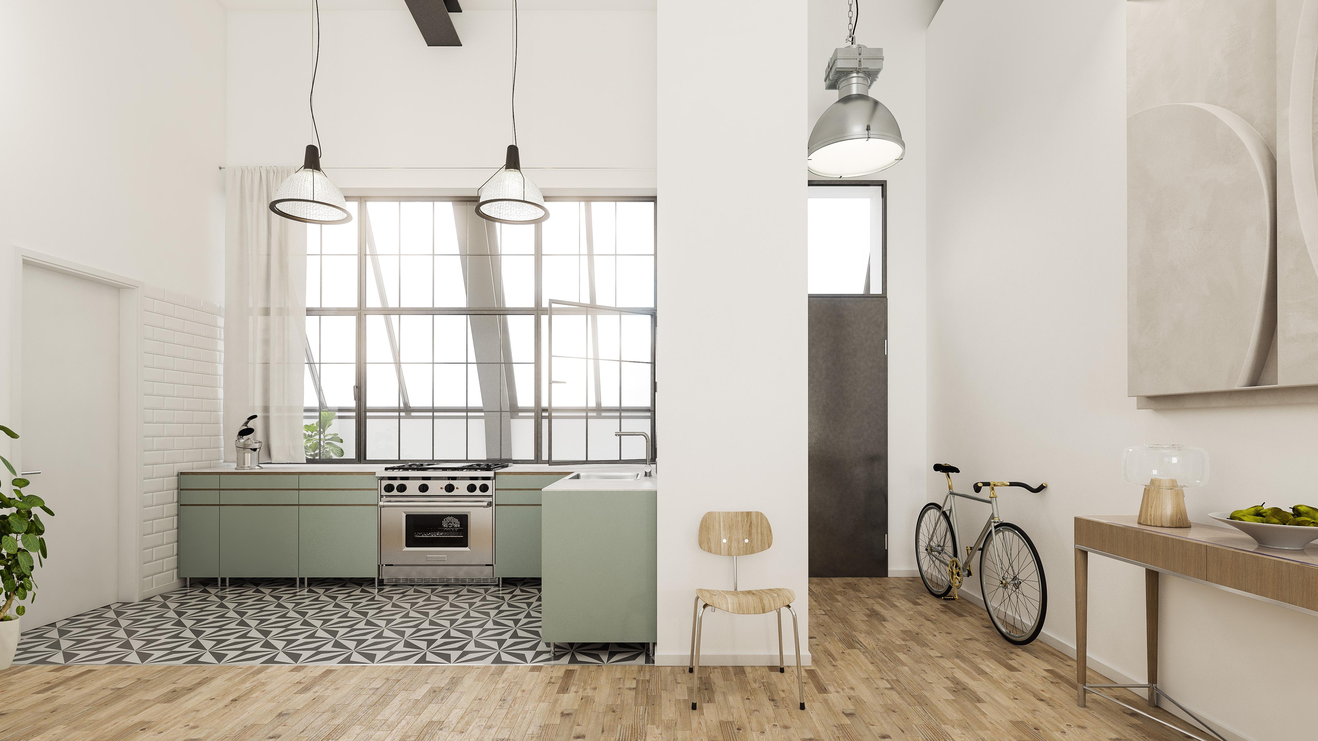 Architekturvisualisierung-Industrieloft-Küche
