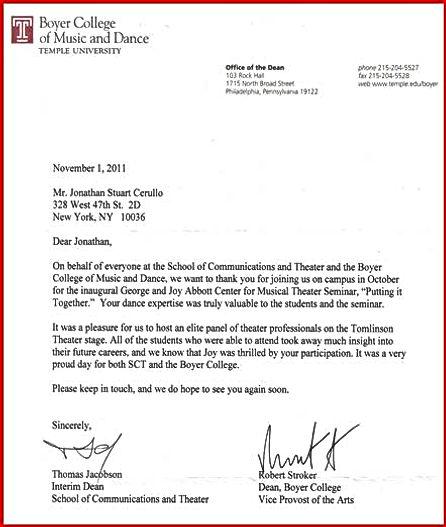 Letter of Thanks