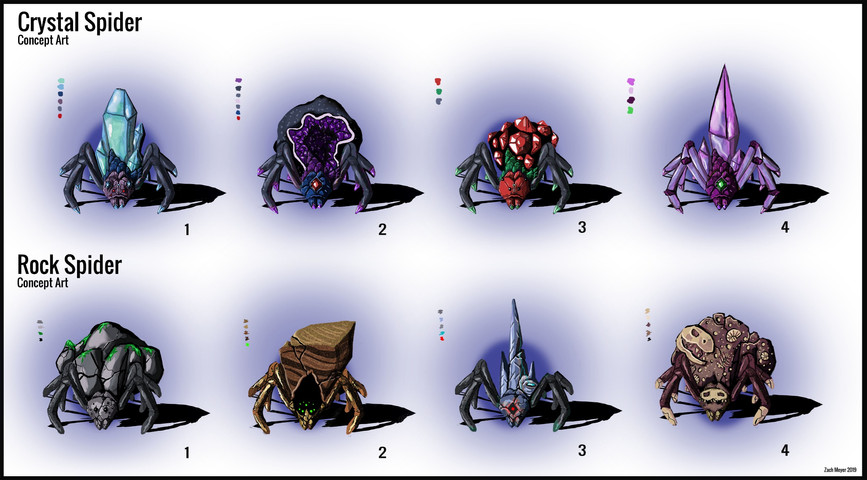 Crystal and Rock Spider Concept Art