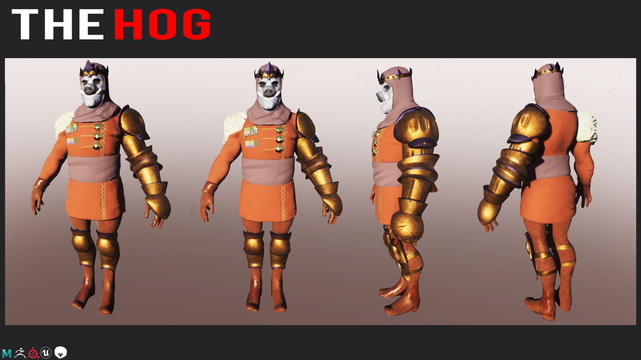 This is a model the Hog King from a VR project.  It was modeled in Zbrush, retopo'd in Maya, baked in Marmoset, and textured in Substance Painter.