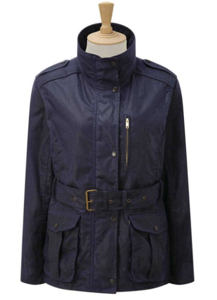 CALDENE COUNTRY JACKET FIGSBURY BELTED WAX NAVY - Size 14
