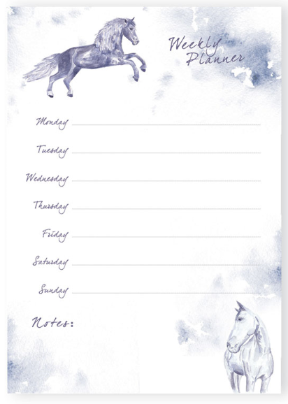 JP Equestrian Watercolour Collection Weekly Planner