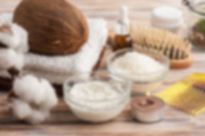 Natural hair treatment with coconut oil.