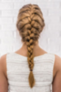 Head of a young woman from behind. Rear