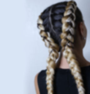 two thick braids of artificial hair, a y