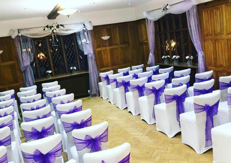 Chair Covers and Purple Sash - Essex Wedding