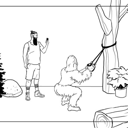 Working Out With Sasquatch Commercial Storyboards