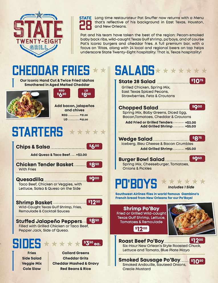 State Tweny-Eight Grill | MENU