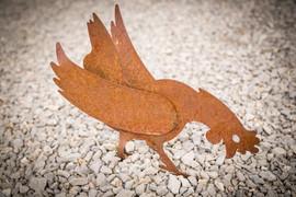 Huhn, Gartenobjekt aus Blech