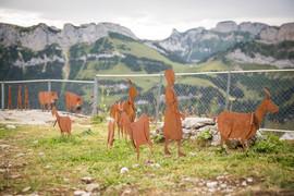 Ziegenmädchen und Ziegen, Gartenobjekte aus Blech
