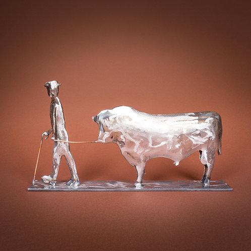 Stier mit Bauer