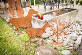 Ziegen, Gartenobjekte aus Blech