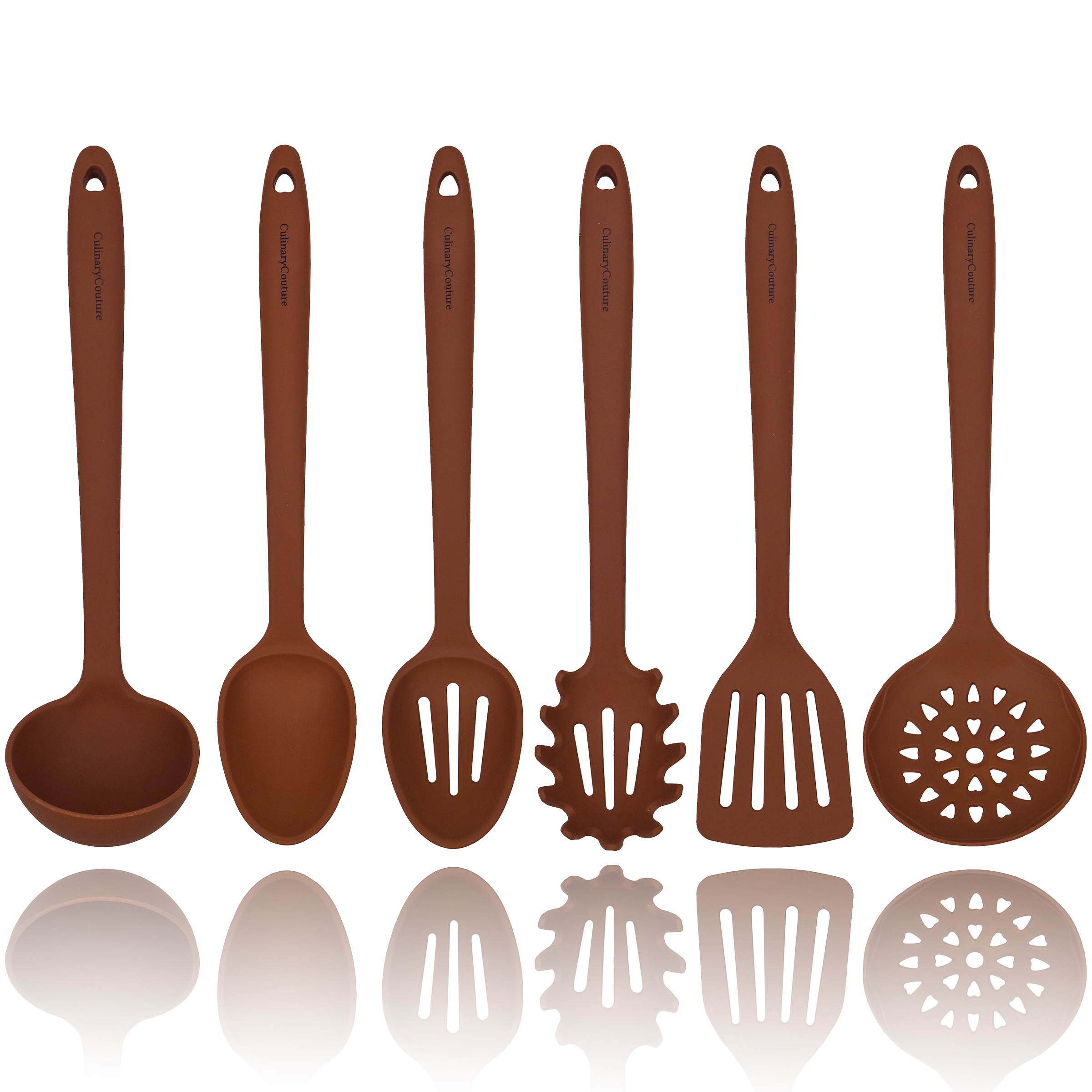 Brown Silicone Cooking Utensils Set