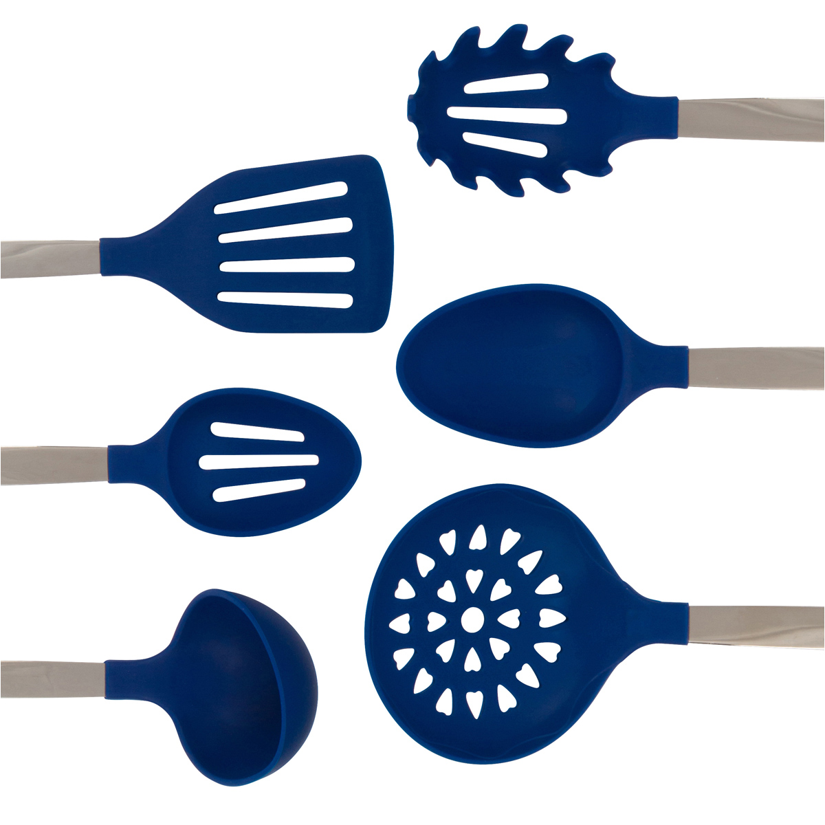 Blue Cooking Utensil Set 6 Piece Stainless Steel And