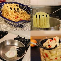 Pasta Server Spatula Mixing Collage