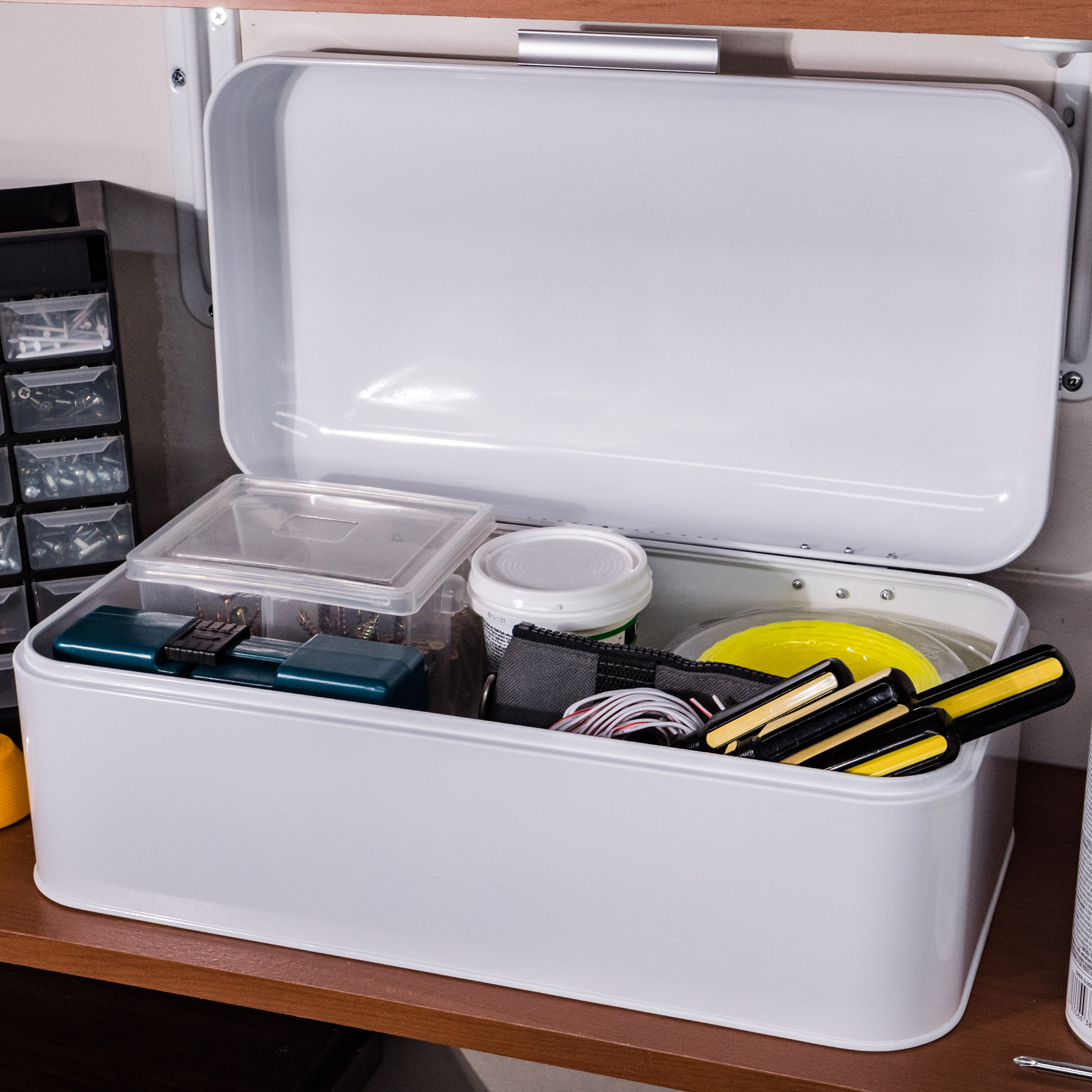 Glossy White Storage Bin
