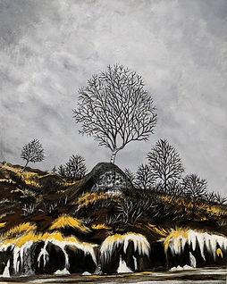 Birch Tree- acrylic on canvas- 16 x 20 x 1.5 in. 2021