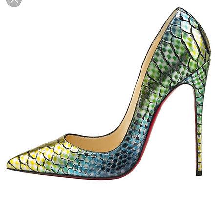Christian louboutin snake green heels