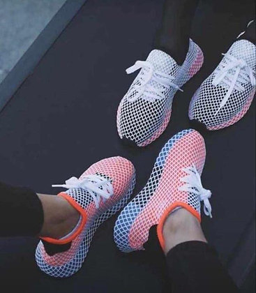 adidas deerupt black and pink outfit
