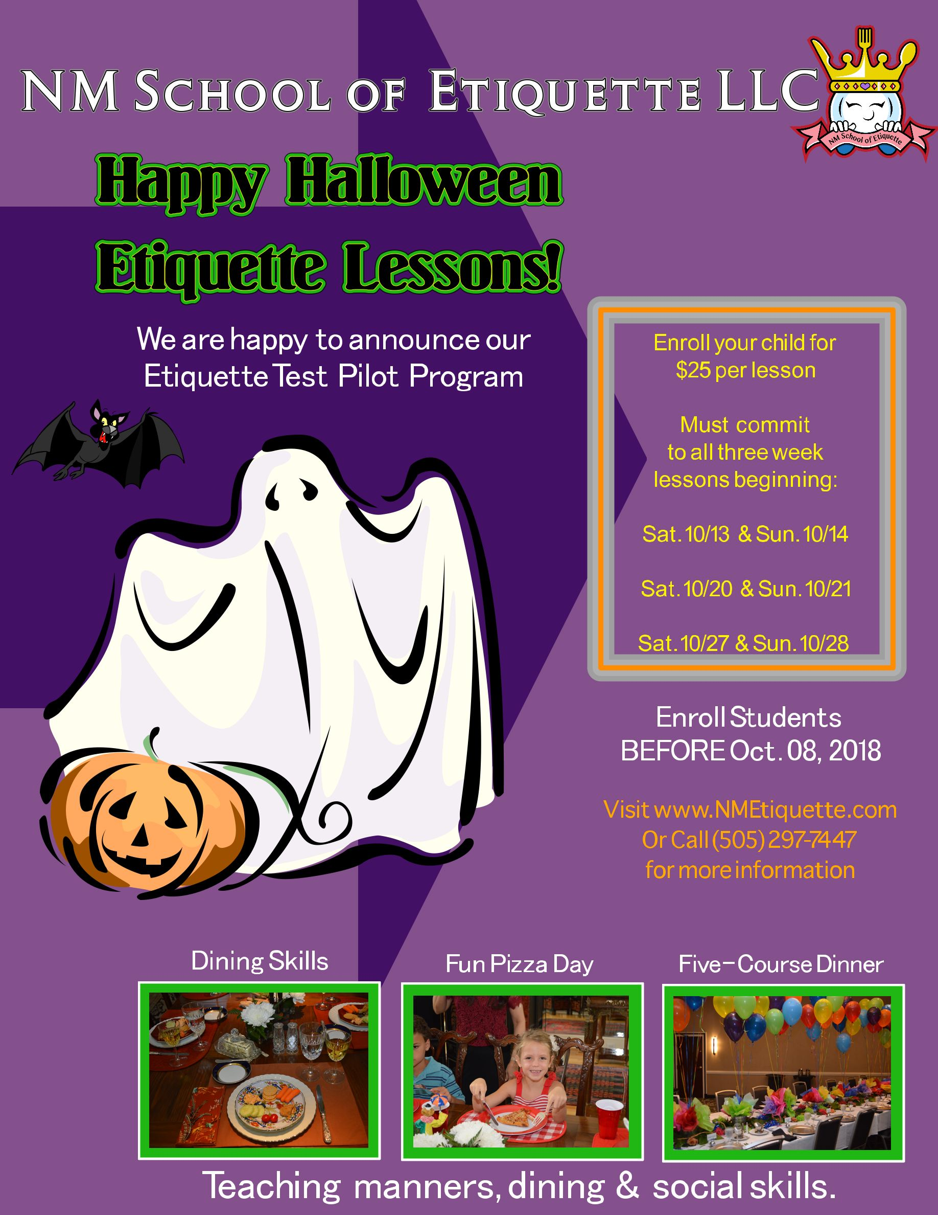 Upcoming Halloween Lessons