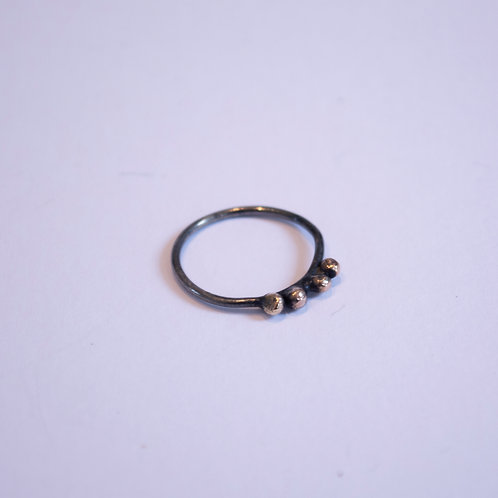 Oxidised Silver Ring with Gold Nuggets