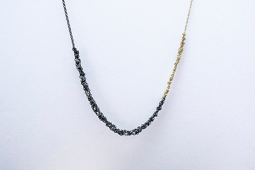 Oxidised Silver and 9ct Gold Crochet Necklace