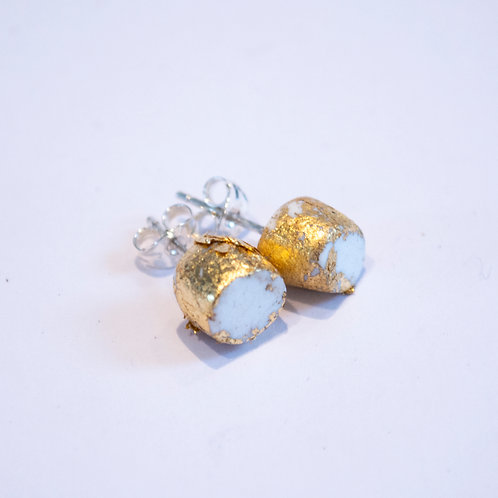 Clay and Gold Leaf Earrings