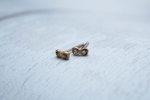 Tiny Champagne Rose Cut Diamond Earrings