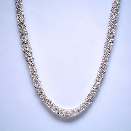 French Knitted Silver Necklace
