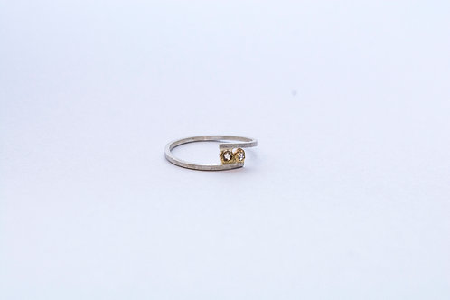 Rose Cut Diamond Silver and Gold Ring
