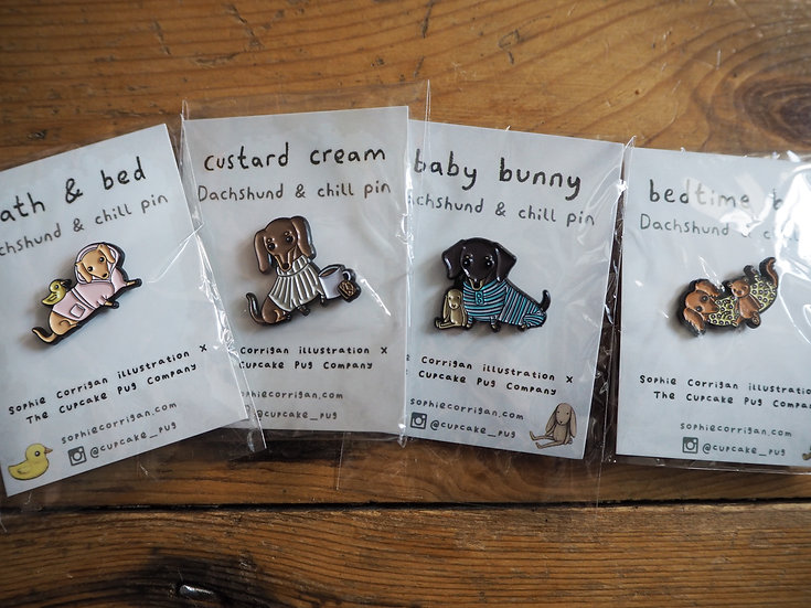 DACHSHUND & CHILL petite enamel pin SERIES by Cupcake Pug Co x Sophie Corrigan