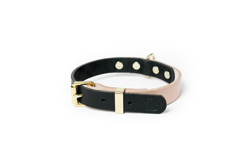Two-Tone Leather Collar Natural/Black