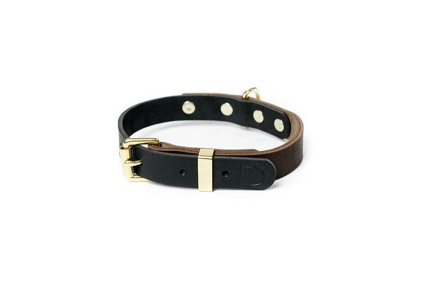 Two-Tone Leather Collar Brown/Black