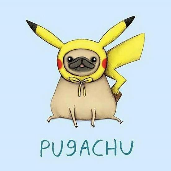 'Pugachu' petite enamel pin designed by Cupcake Pug Co x Sophie Corrigan